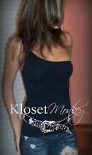 SEXY BLACK SLIMMING ONE SHOULDER SOLID BASIC SEAMLESS  STRETCH TANK TOP HOT!  OS