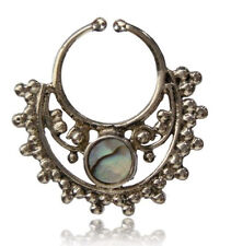 ORNATE SHELL SILVER BRASS FAKE FAUX HANGING SEPTUM 9MM RING NOSE ABALONE NOSE