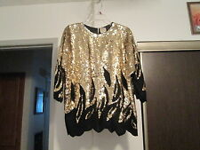 Vintage SEQUIN BEADED SILK Cocktail Evening Deco top Royal Cruise line