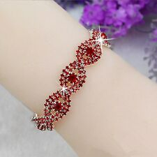 Ladies Deluxe Austrian Crystal Bracelet Women Infinity Rhinestone Cuff Bangle