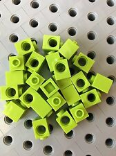 LEGO 1x1 Lime Green Technic Brick Modified With Hole Blocks Wall New Lot Of 24