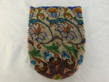 VINTAGE MICRO BEADED RETICULE PURSE FLORAL DESIGN UNFINISHED