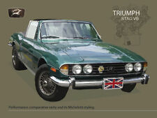 Triumph Stag V8, Classic British Convertible Sports Car, Large Metal/Tin Sign