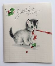 UNUSED Vintage GIBSON Christmas Card Cute Green Eyed Kitty Cat Red Ribbon Holly