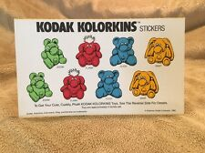 VINTAGE Kodak Kolorkins Stickers Premium to get Kodak Plush Stuffed Toys 1989