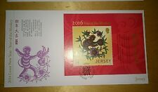 猴年首日封 2016 Jersey Lunar Zodiac Monkey Year MS Stamp FDC