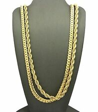 """Men 14K Gold Plated 6mm 30"""" Rope & 6mm 30""""  Miami Cuban Link Chain Necklace SN09"""