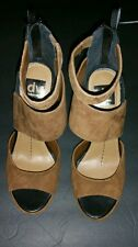 DOLCE VITA SHOES BROWN SUEDE,  ZIP BACK, STRAP ACROSS ANKLE, SIZE 7.5 MEDIUM
