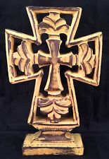Carved Wooden Religious Cross Tabletop Decor Distressed Yellow Chalky Color