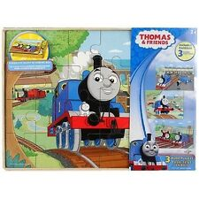 THOMAS THE TANK ENGINE AND & FRIENDS WOODEN JIGSAW PUZZLES 3 SET RAILWAY RRP £15