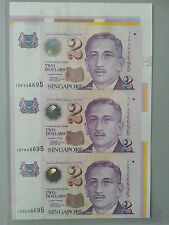 Singapore $2 3pcs UNCUT (Paper) Banknote With Corner Selvage