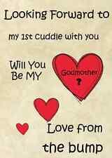 1st Cuddle desde el bump quieres ser mi Madrina A5 tarjeta de saludo pidb11