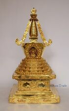 "18"" Stupa or Chaitya or Chorten Fully Gold Gilded Copper Alloy From Patan, Nepal"