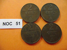 NORWAY (NORGE). 4 BRONZE COINS@2 ORE (1921+1928+1929+1931)#NOC51