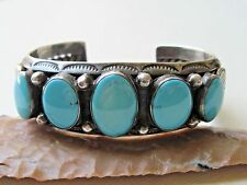 Vintage Old Pawn Navajo Turquoise and Sterling Silver Bracelet ~ 69 grams