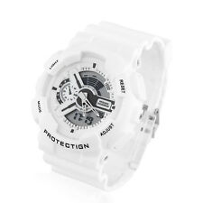 Fashion Mens Water Resistant White LED Watch Sports Analog Digital Wristwatch