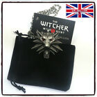 The Witcher 3 Wild Hunt RED EYES Medallion/Necklace+Black Pouch+Card Cosplay *UK