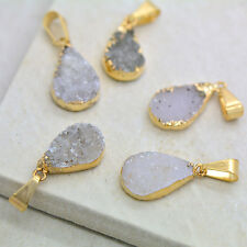 Small Neutral Colored Druzy Drop Cut Gold Plated Druzy Gemstone