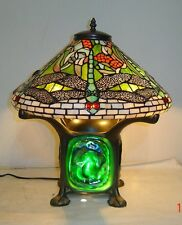 Tiffany Style Stained Glass Green Dragonfly Lamp with Lave Base