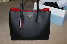 Prada Double Bag black with red lining