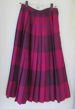 Vgt Purple Plaid 100% Worsted Wool Pleated Long Boot Skirt Women XS USA