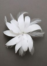 David's Bridal Feather Flower Hairpiece with Crystals F557 Wedding Hair Clip NEW