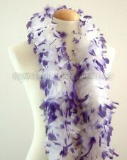 """45g 52""""long White w/ Purple tips chandelle feather boa diva night, dress up, New"""