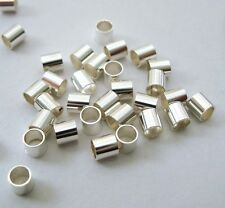 100pcs 3mm x 3mm Sterling Silver 925 CRIMP BEAD tubes cut tube spacer bright F39