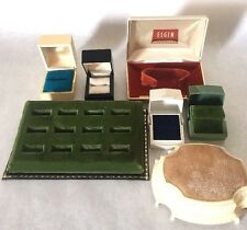 Vintage Jewelry Presentation Box Lot Velvet Celluloid Plastic Ring Display Empty