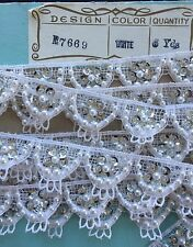 Vintage Novelty Trim - White Lace/Sequin/Bead French Trim