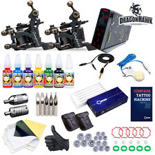 New Pro Tattoo Kit 2 Magellan Compass Machine Gun Ink Needles Power Supply Set