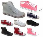 Canvas Low Hi Top Ladies Womens Girls Lace Up Pumps Shoes New Boxed All Sizes
