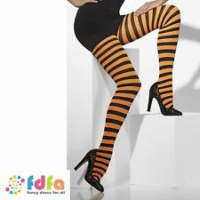 BLACK & ORANGE STRIPE OPAQUE WITCH TIGHTS - 10-14 - womens ladies fancy dress