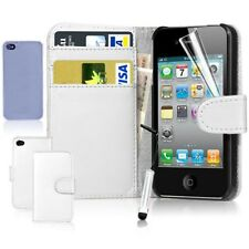 Magnetic Leather Flip Wallet Case Cover For iPhone 4S 5S+Screen Protector+Stylus