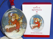 Hallmark Ornament The Magic of Believing 2013 Santa Reindeer on Rooftop Glass