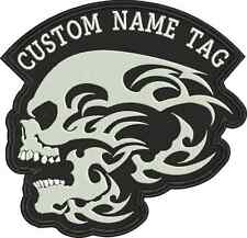 Custom Embroidered Phantom Skull name Tag Motorcycle BIKER Badge