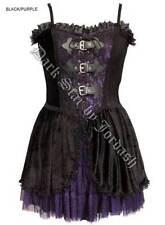 Vestido De Encaje señoras Negras De Terciopelo Violeta Gótico Steampunk Victoriano & Talla 10-16