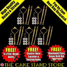 5 x Metal Gold Large Crown 3/ThreeTier Cake Stand Handle Sets with Fittings