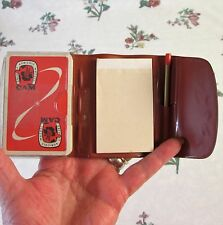 VINTAGE FRENCH 1950s SEALED CREDIT AGRICOLE PLAYING CARDS IN CASE w PAD /PENCIL