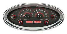 Dakota Digital Universal Elliptical Oval Analog Dash Gauges Carbon Red VHX-1017