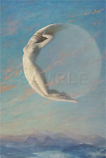NEW MOON SELENE NUDE GODDESS WITCH WICCAN MYSTICAL VINTAGE *CANVAS* ART PRINT