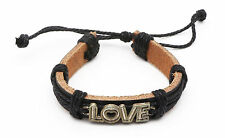 "Adjustable Black Leather Bracelet with Metal ""Love"" Text with a Heart"