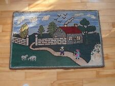 Antique FOLK art HOOKED rug Farmer and Wife animals Amish style 1930 nice detail
