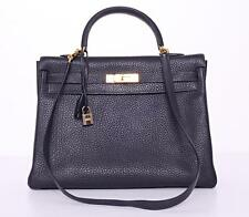 HERMES 35cm Navy Blue KELLY Clemence Gold HARD TO FIND Bag Handbag RETOURNE