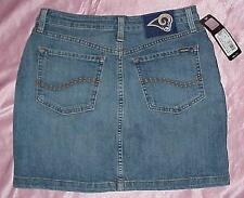 NEW Los Angeles Rams NFL Apparel Women's Blitz Denim Blue Jean Skirt Size 6