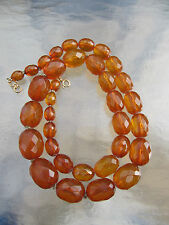 Antique Victorian Faceted Natural Genuine Honey Amber LARGE Bead Necklace 58 gr