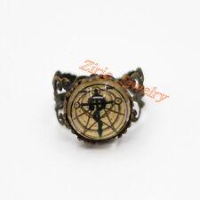 Vintage Fullmetal Alchemist Snake Cross Pentacle Glass Art Wiccan Pagan Ring