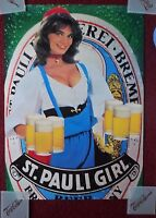 Vintage Sexy Girl Beer Poster St. Pauli ~ Country Brunette 1983