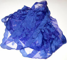 "~SCARF~ Handkerchief Dainty Royal Blue Roses Scalloped Edge 25"" x 25"" Women"