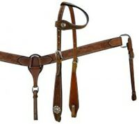 Showman™  Double Stitched Leather Headstall and Breastcollar